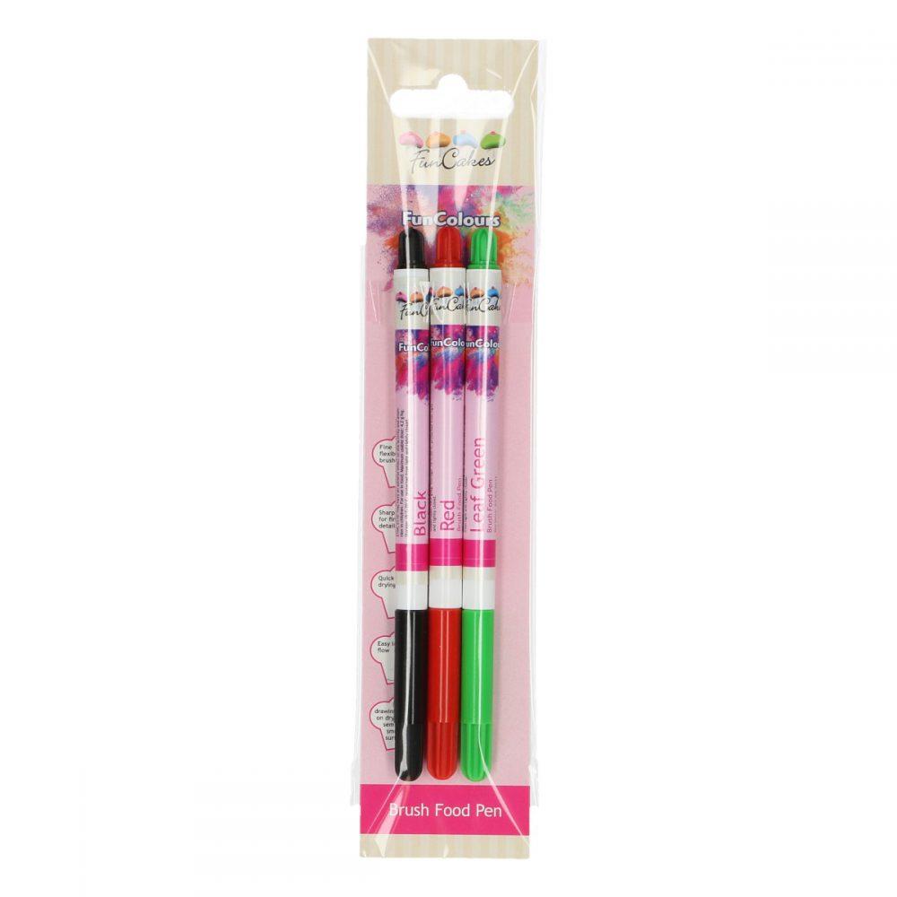FunColours Brush Food Pen Black-Red-Green