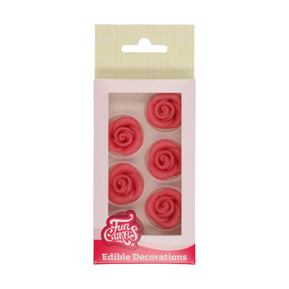 Marzipan Decorations Roses Pink