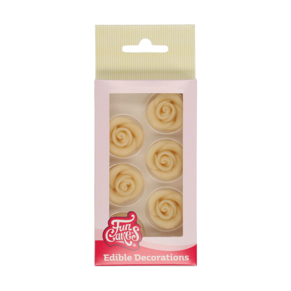 Marzipan Decorations Roses White