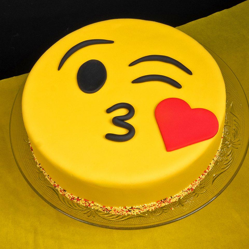 Marvelous Emoji Kiss Cake Funcakes Funny Birthday Cards Online Elaedamsfinfo