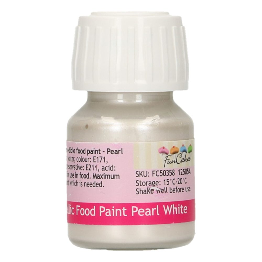 FunCakes Metallic Food Paint Pearl White