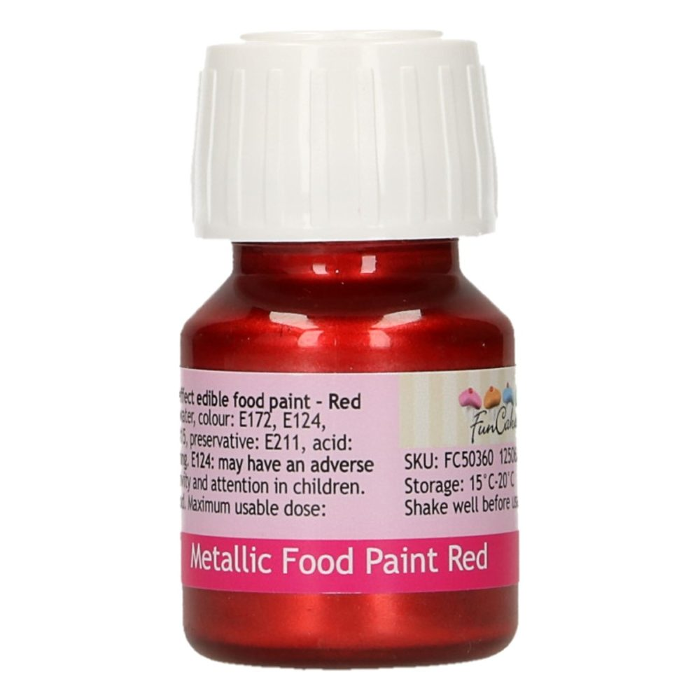 FunCakes Metallic Food Paint Red