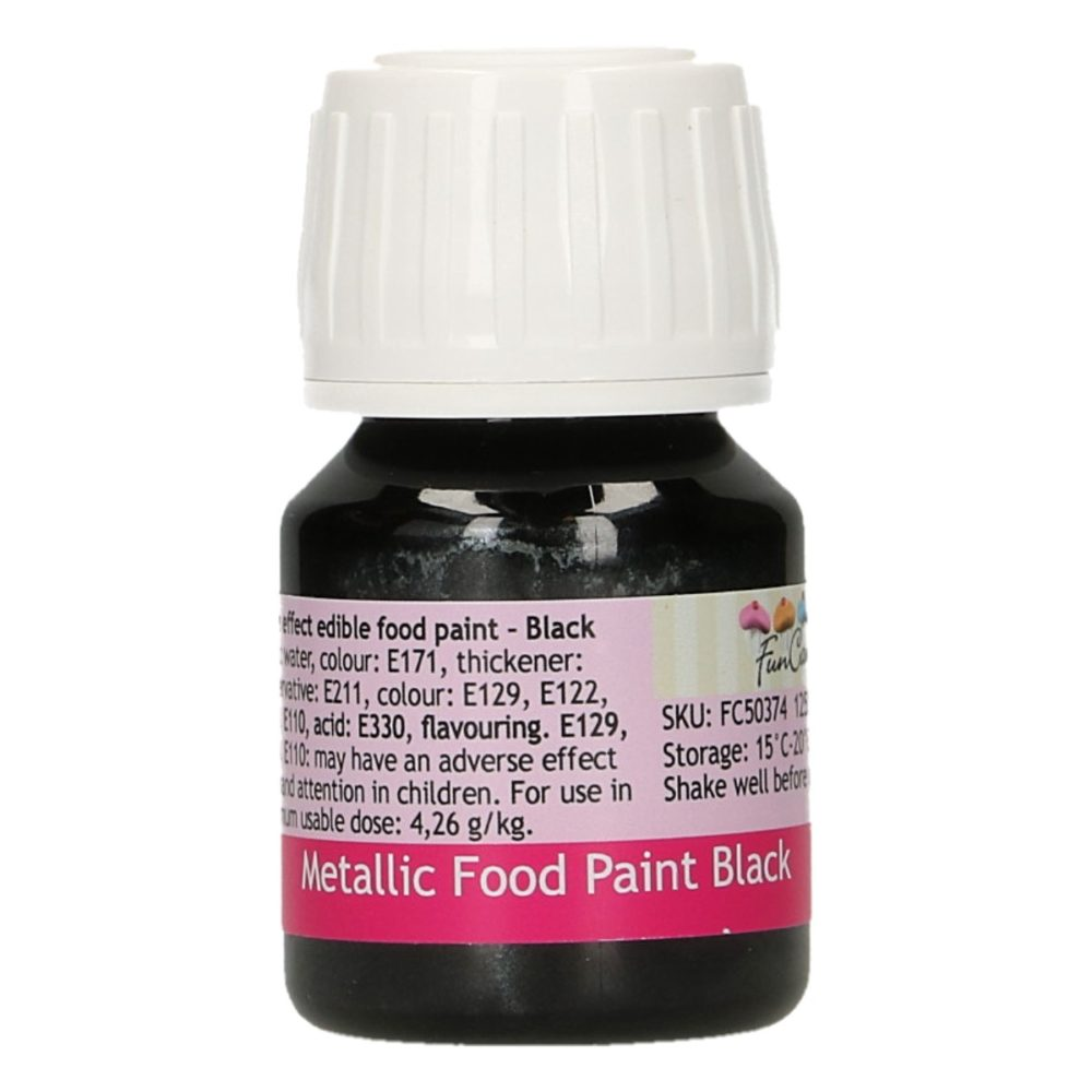 FunCakes Metallic Food Paint Black