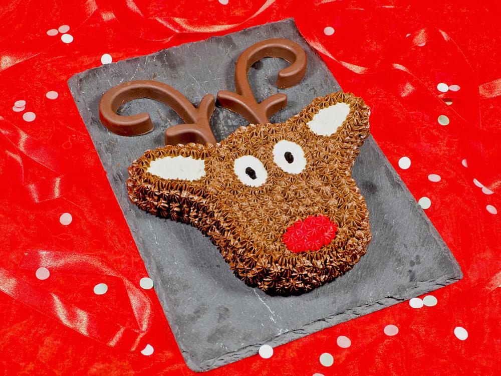 Chocolate reindeer Christmas cake