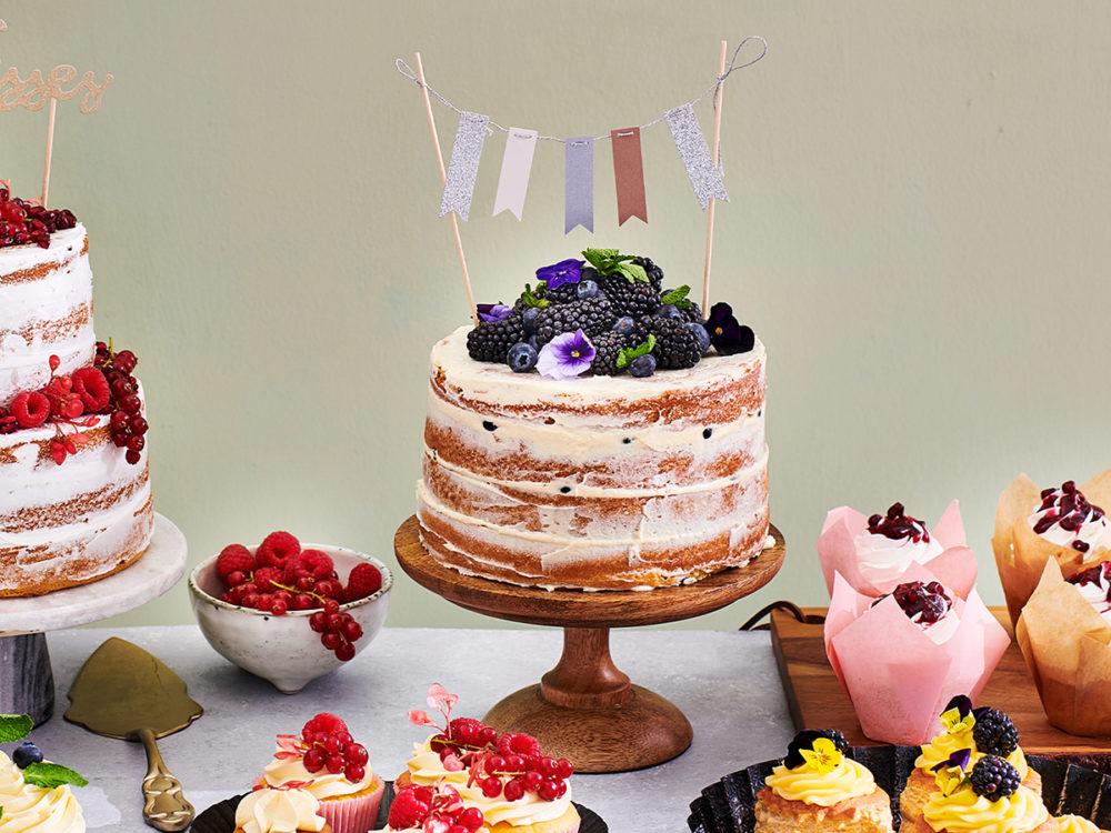 Low sugar cake with blackberries
