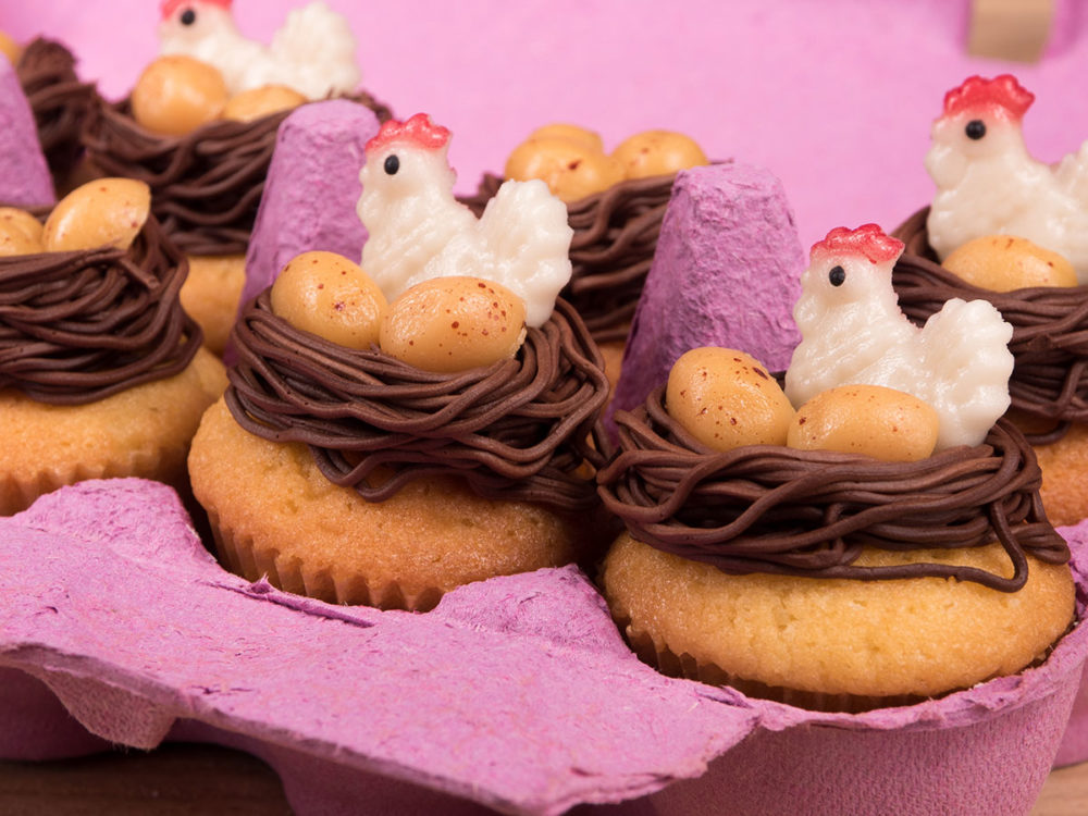 Mini chicken and egg cupcakes