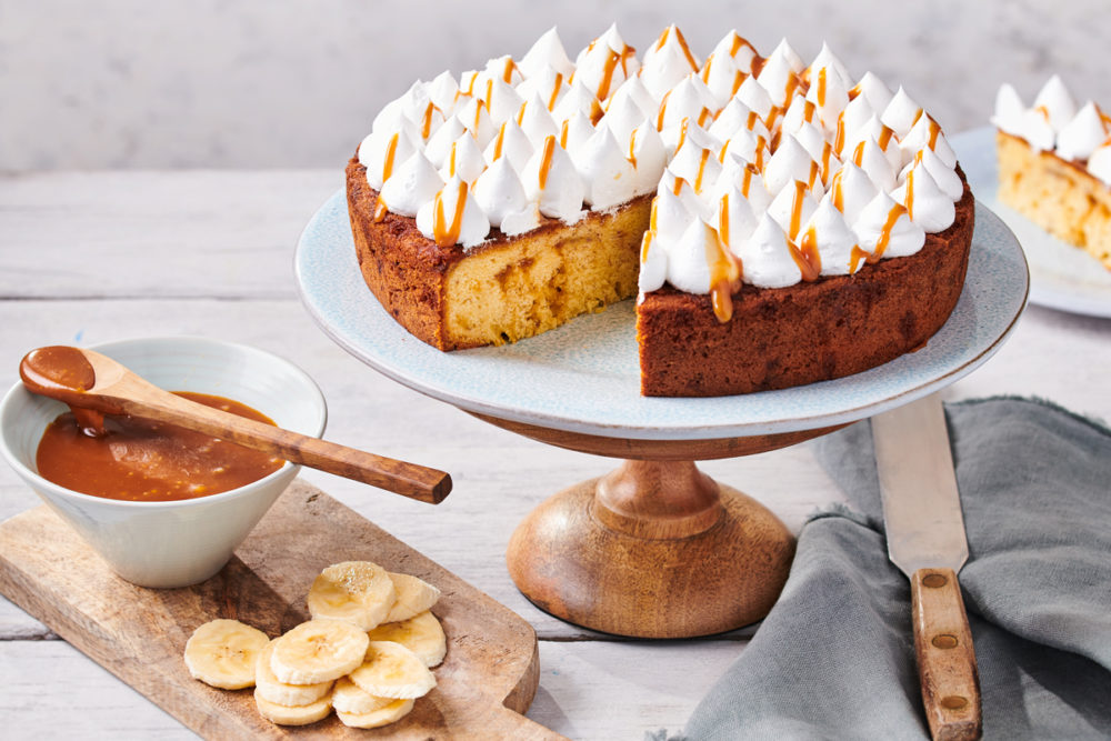 Banoffee cake with caramel drizzle