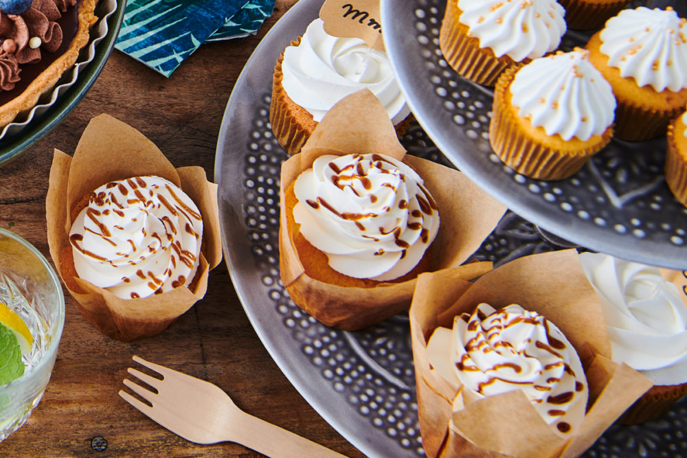 Cupcakes with caramel drizzle