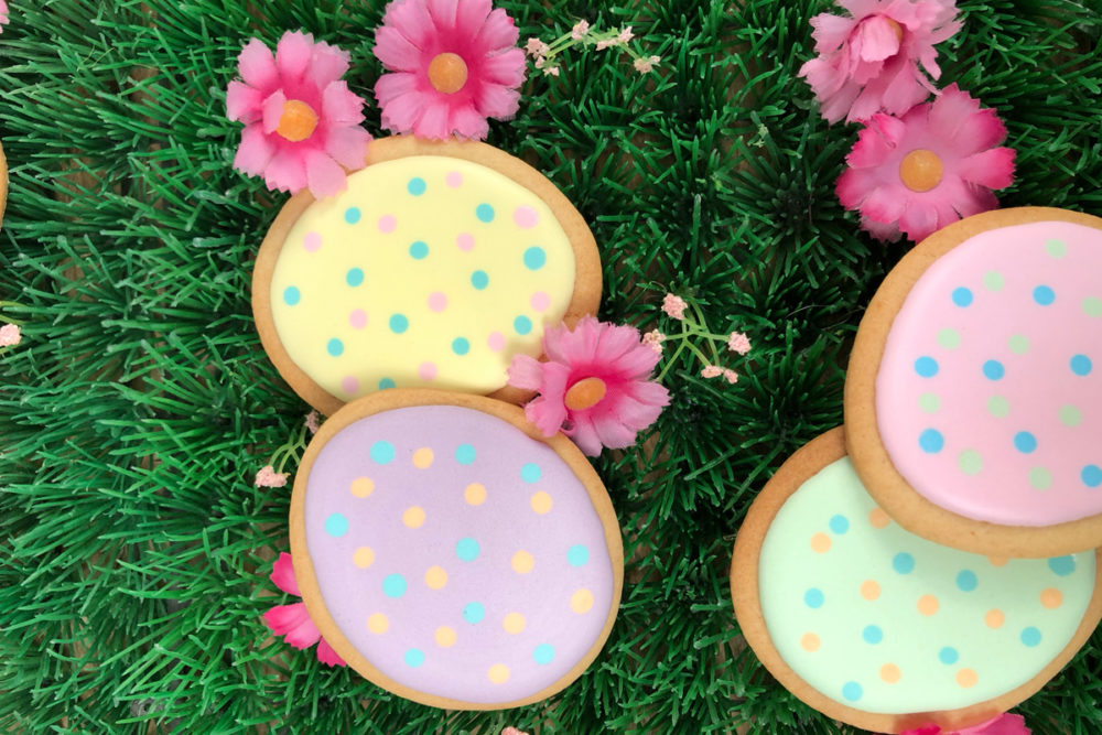 Easter egg cookies with royal icing