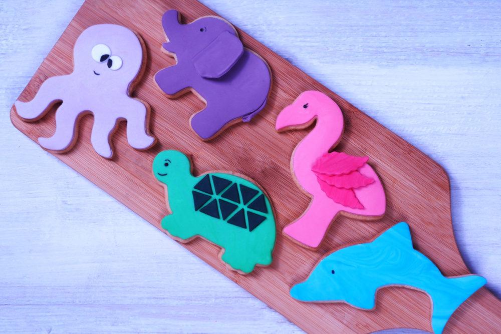 Animal fondant cookies