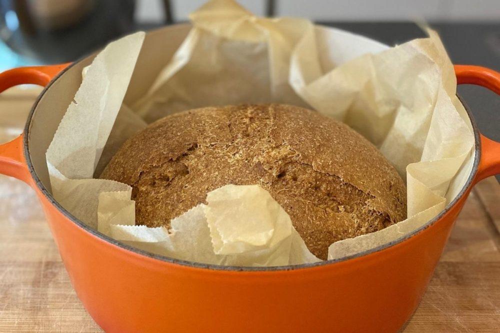 Baking bread in a pan