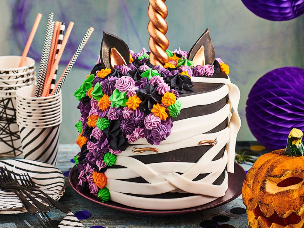 Creepy unicorn cake voor Halloween