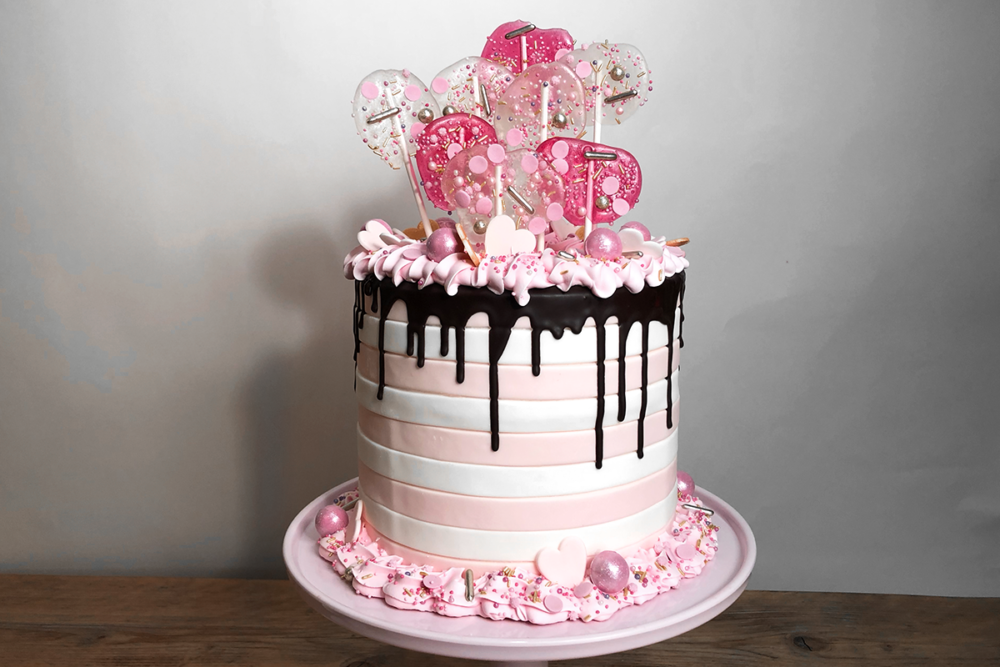 Soft pink love cake with isomalt toppers