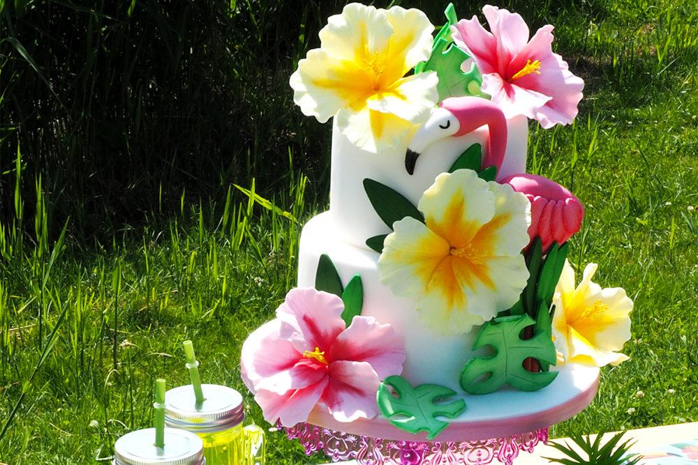 Tropische Flamingo taart