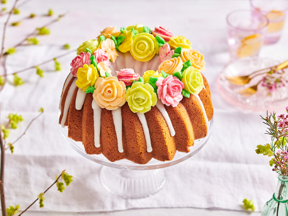 Spring bundt with buttercream flowers