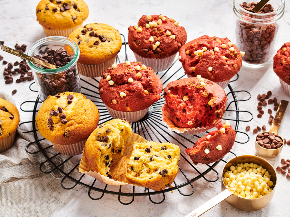 Red velvet muffins with white chocolate drops
