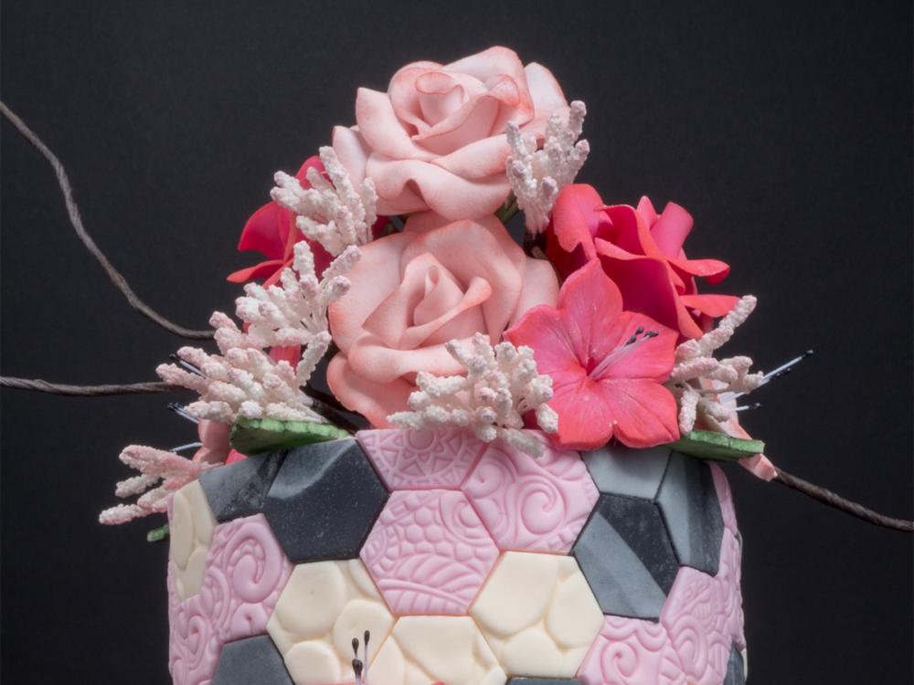 Geo hexagon cake