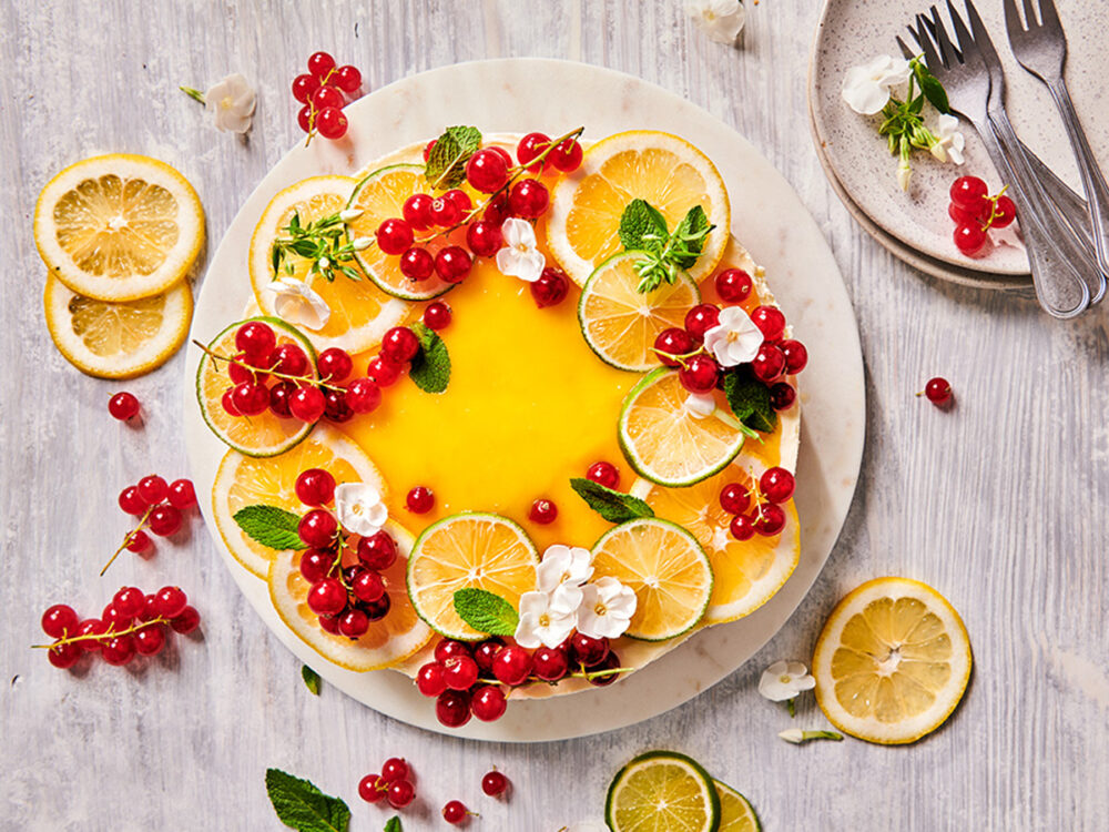 Citroentaart met fruit